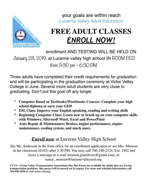 LV Adult Education Testing on January 28 Featured Photo