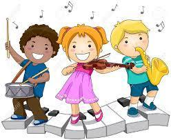 3 cartoon kids playing a drum, a violin and a sax