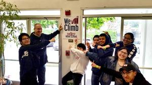 Mr. Lamarre with students during We Climb campaign drive