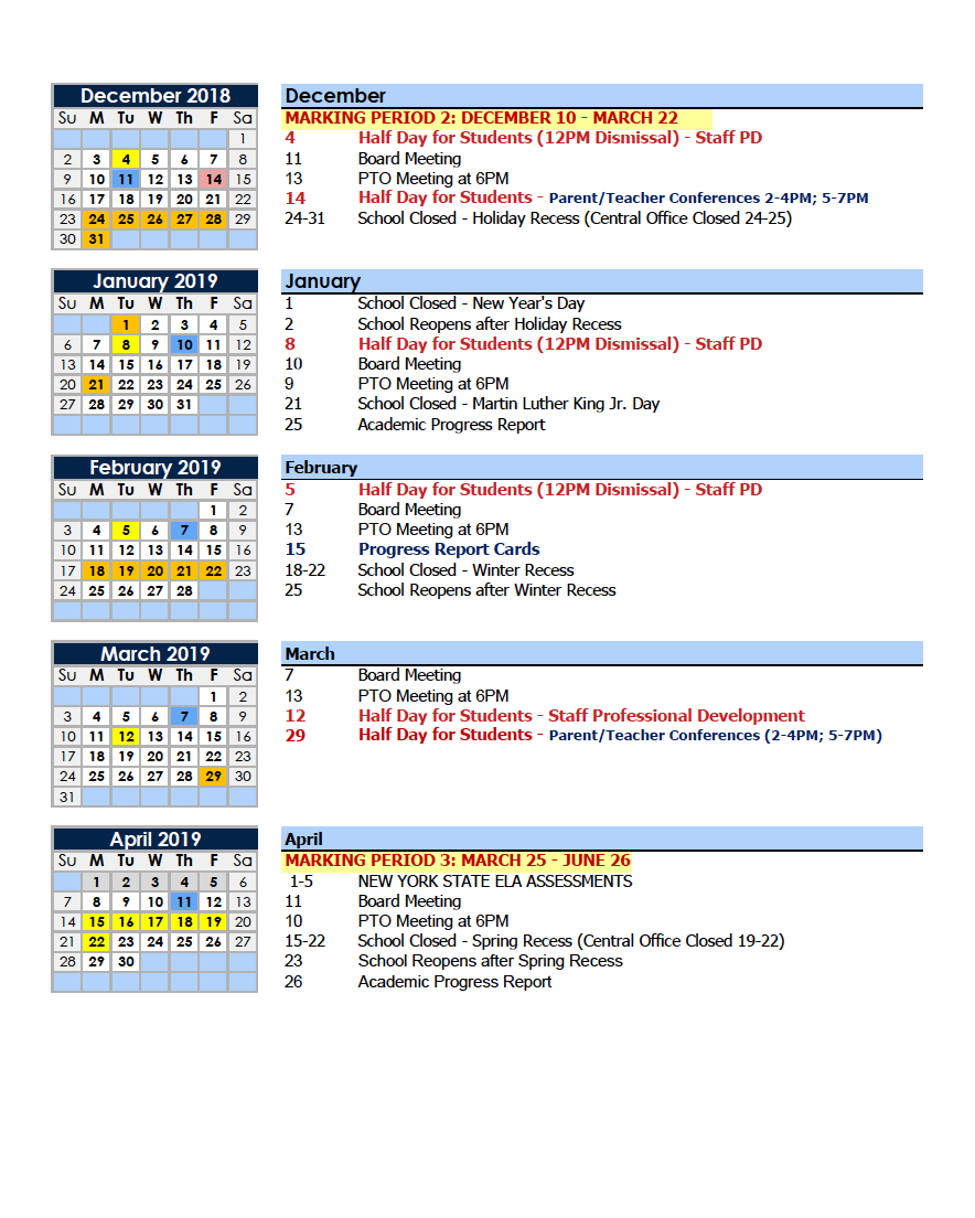 New York Calendar Of Events 2019 Calendars – Parents – Charter School of Educational Excellence