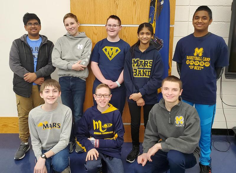 """Mars Area Middle School students (back row, from left) Vivek Dadi, Aidan Teboul, Adam McElhinny, Reva Kalbhor, Nameer Dheen, (front row) Mitchell Kulfan, Carson Mahan and Declan Abbey competed in the 2019-2020 """"You Be the Chemist"""" Regional Challenge."""
