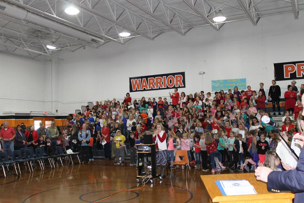 Students  at the CES Veterans Day Assembly