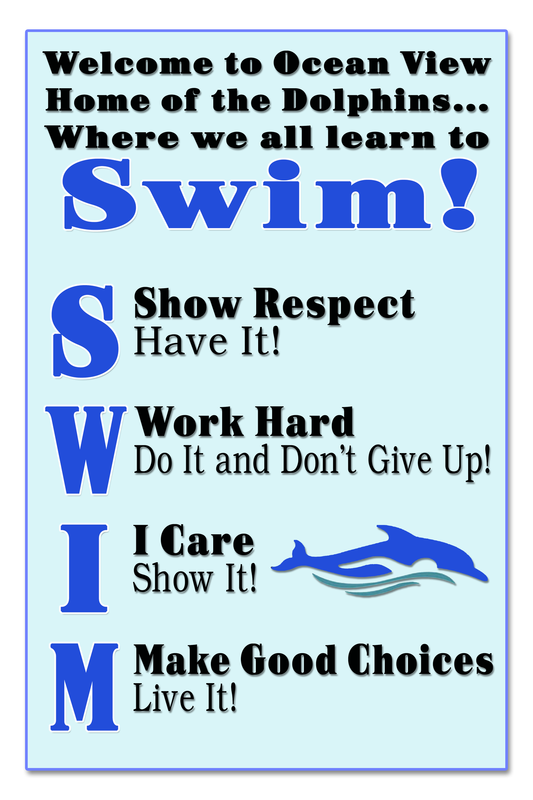 This is a poster that  says Show Respect, Work Hard, I care, Make good choices with a dolphin swimming across it.