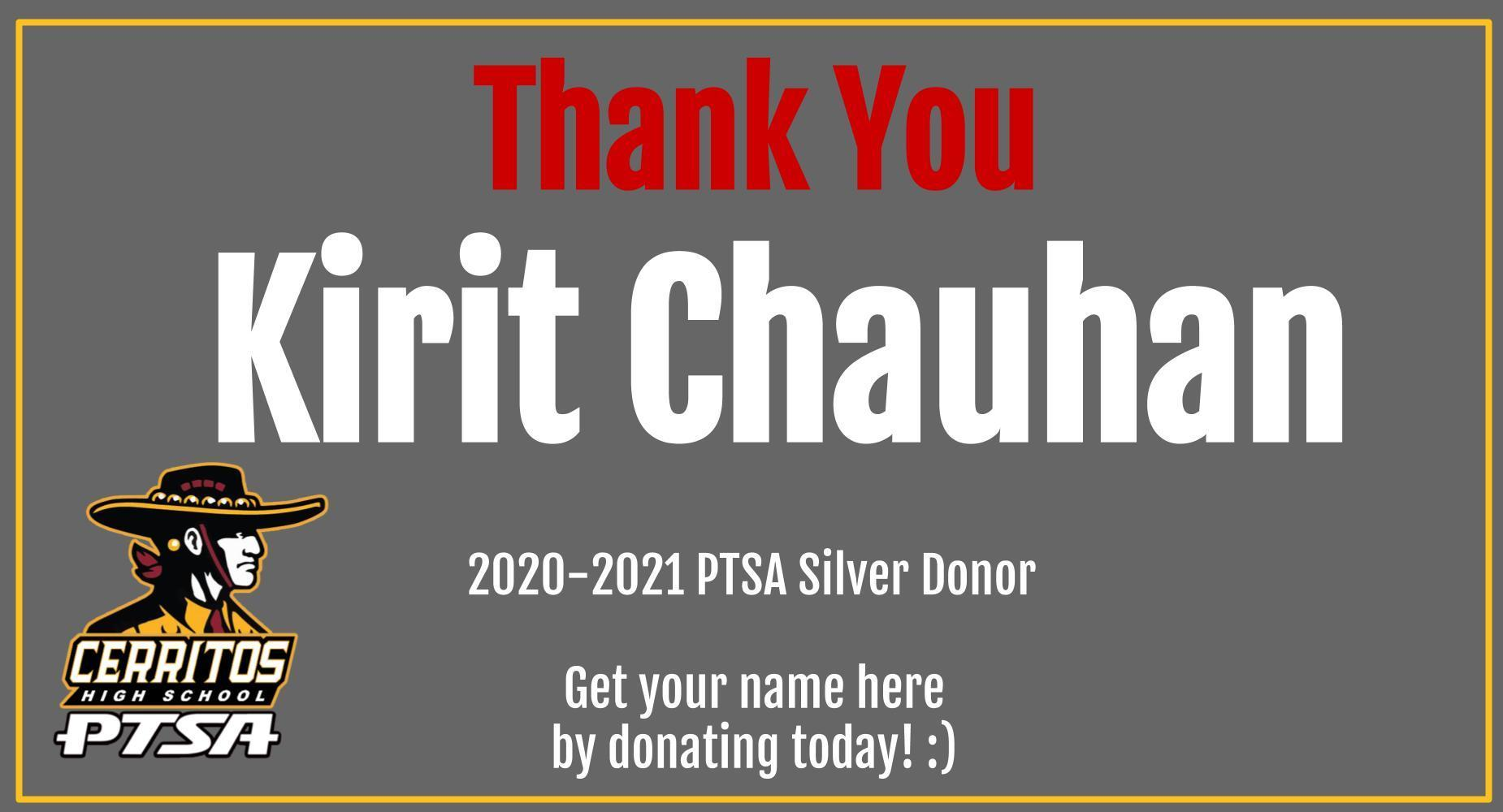 Thank You Kirit Chauhan PTSA Donor