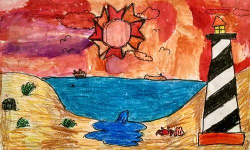 Seascape of Cape Hatteras Painted By Fourth Grader