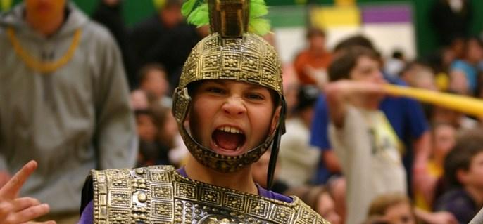 boy dressed as trojan