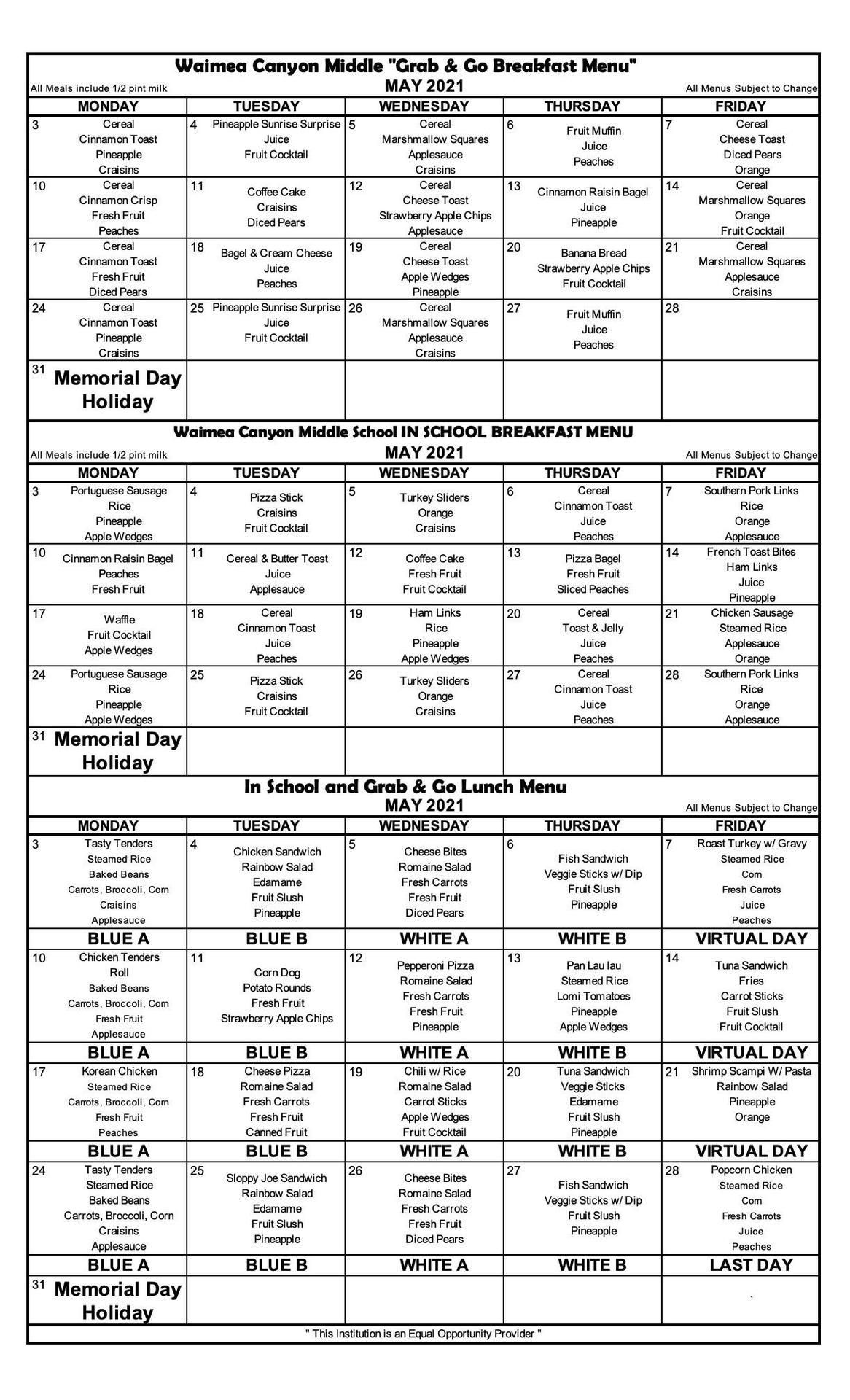 May menus