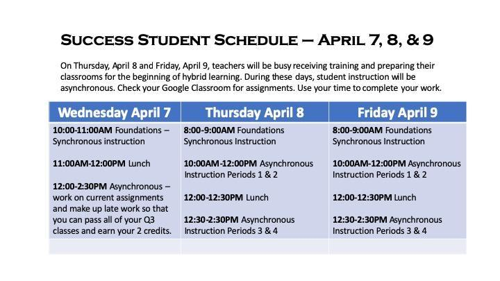 Student Schedule April 8 & 9 Featured Photo