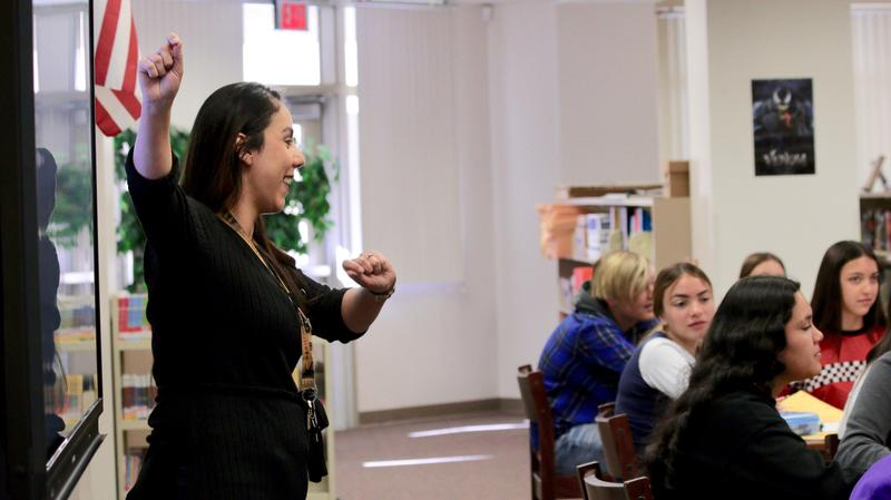 Samia Muhareb teaching her class in 2019.