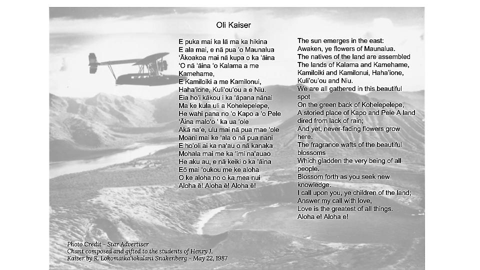 Oli Kaiser in Hawaiian and English