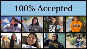 title 100% college acceptance. with pictures of students wearing various college swetshirts