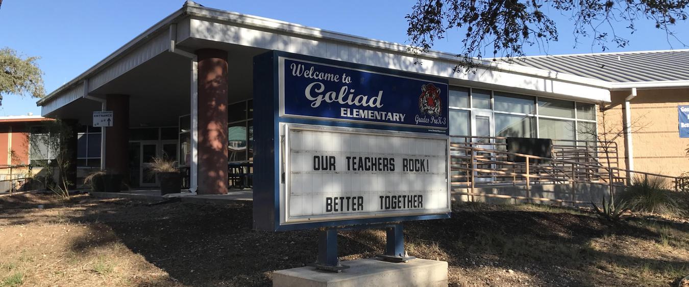 Front of school.