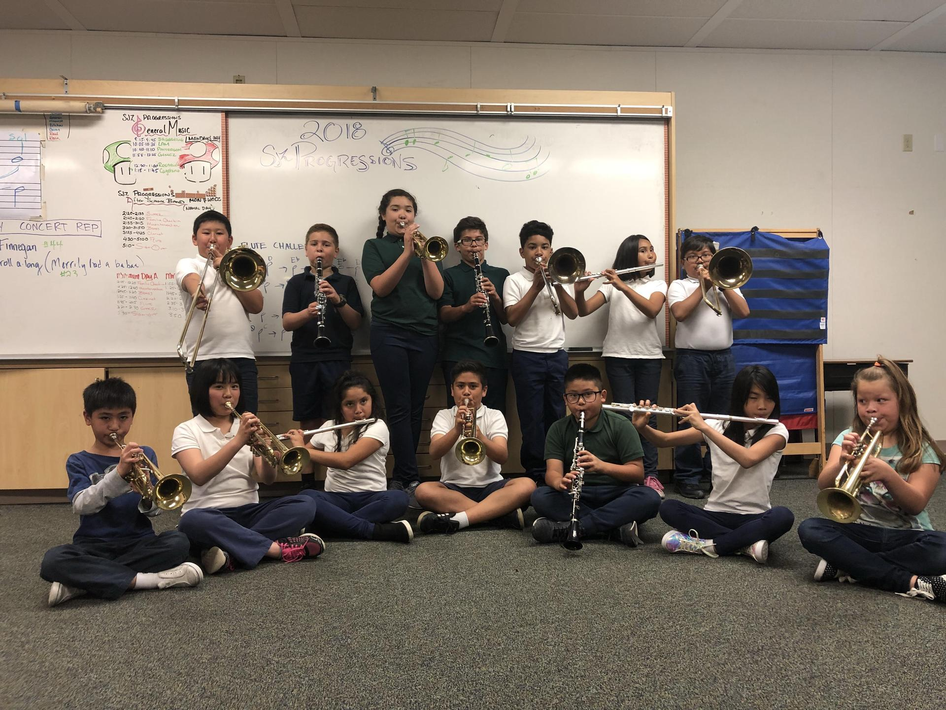 Music students with their instruments.