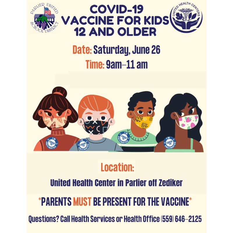 ***UPDATE! COVID-19 VACCINE FOR KIDS 12 YEARS AND OLDER Featured Photo