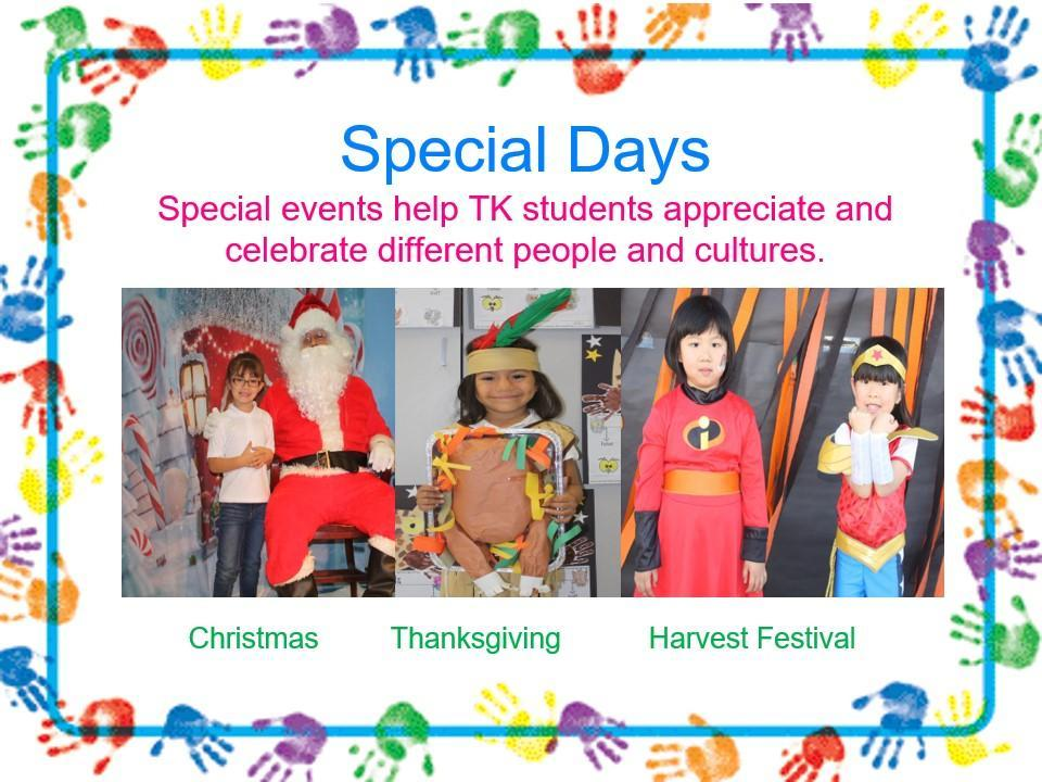 special days in transitional kindergarten