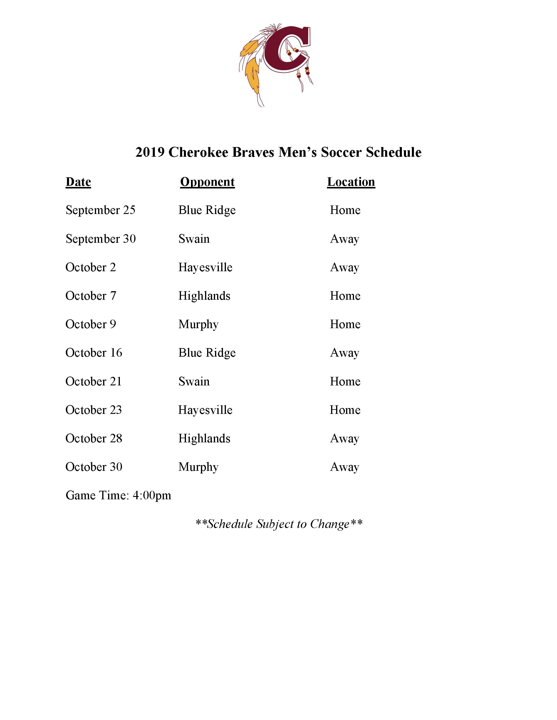 2019-2020 CHS Mens Soccer Schedule
