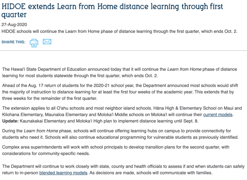 HIDOE extends Learn from Home distance learning through first quarter Thumbnail Image