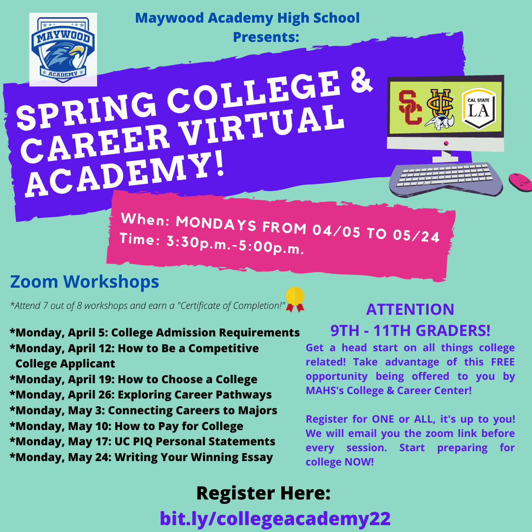Join Our College/Career Virtual Academy Sessions!