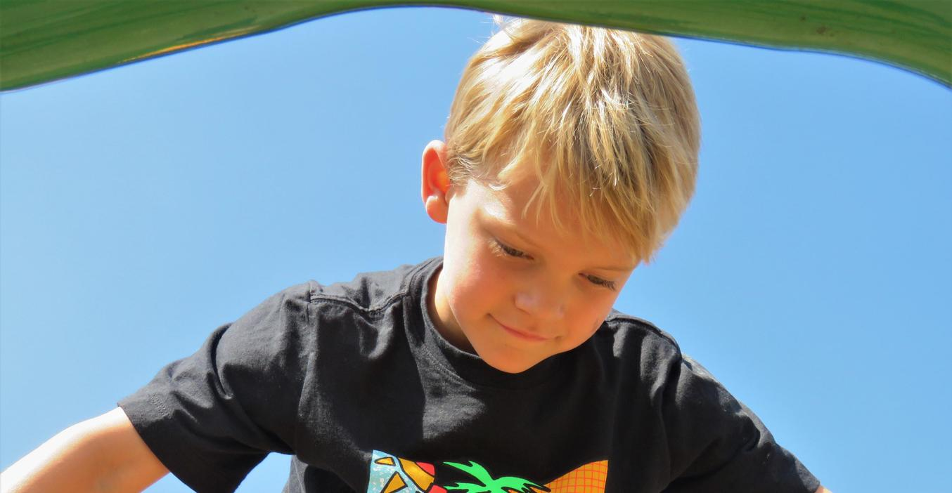 A McFall student looks down from his perch on the climbing apparatus on the playground.