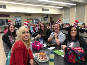 Teachers dressed as Dr. Seuss characters.