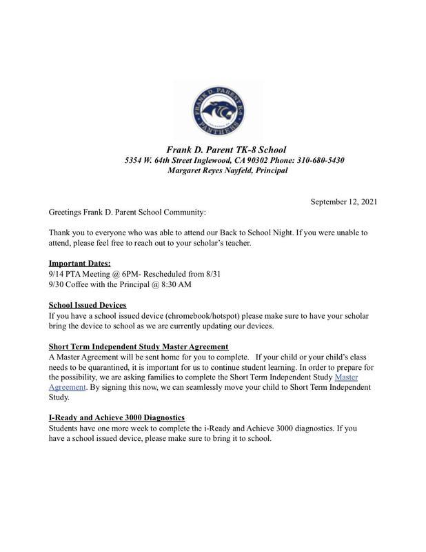 FDP Weekly Update 9/12/21