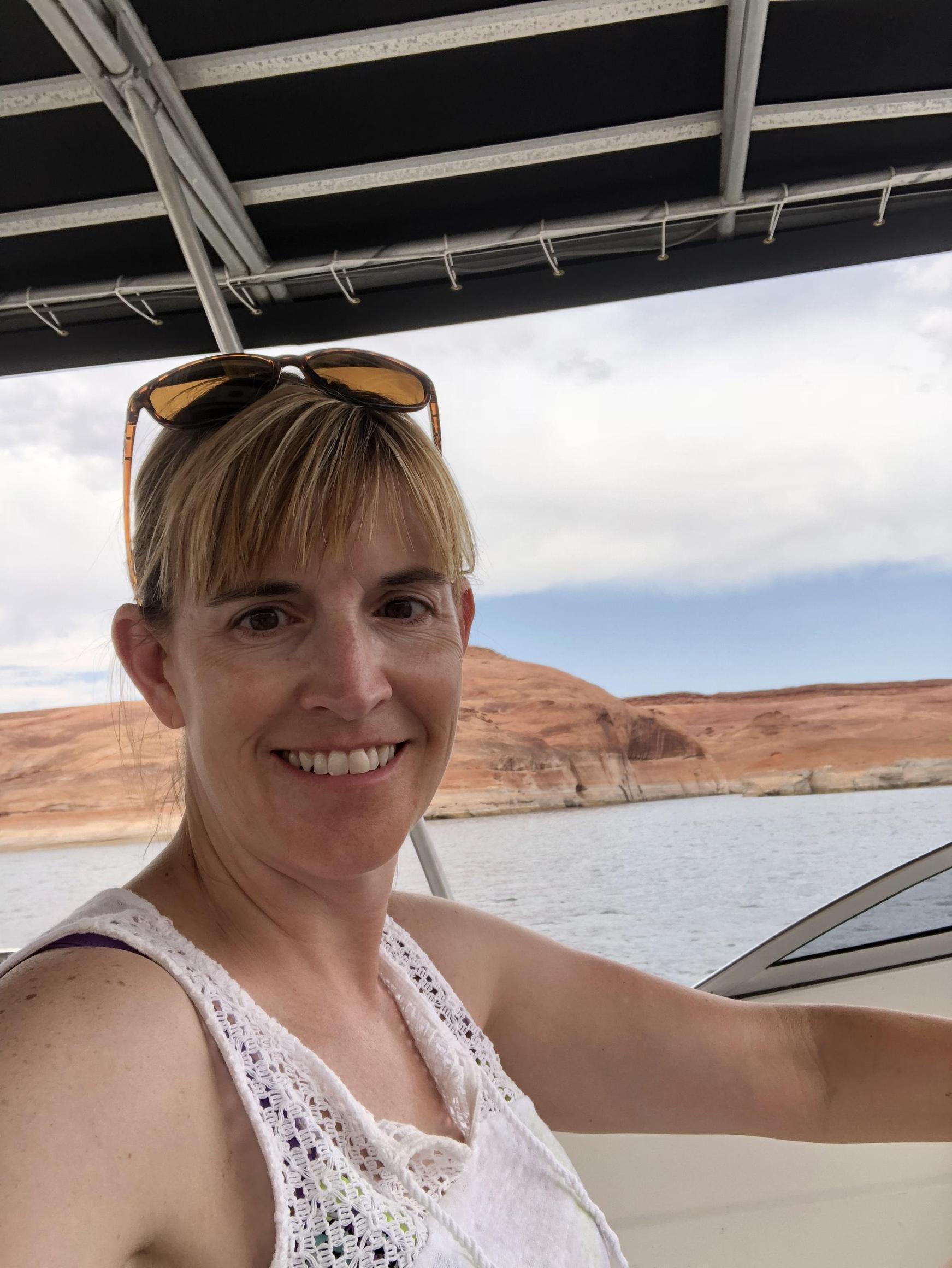 Driving the boat at Lake Powell, 2018