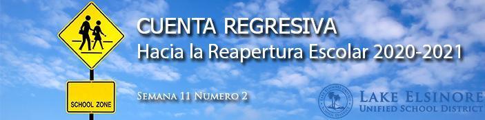 School Reopening Countdown 2020-2021 Masthead in Spanish