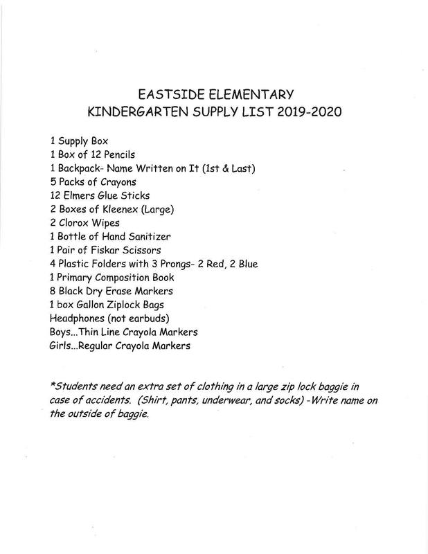 Supply List for Kindergarten Thumbnail Image