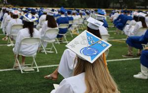 Photo of WHS graduates with decorated caps.