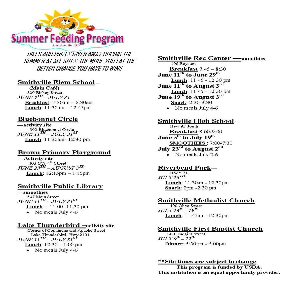 Summer Feeding Program Sites