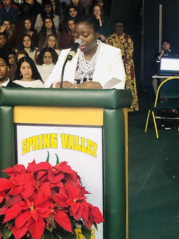 Dr. Bradley speaking at Spring Valley HS