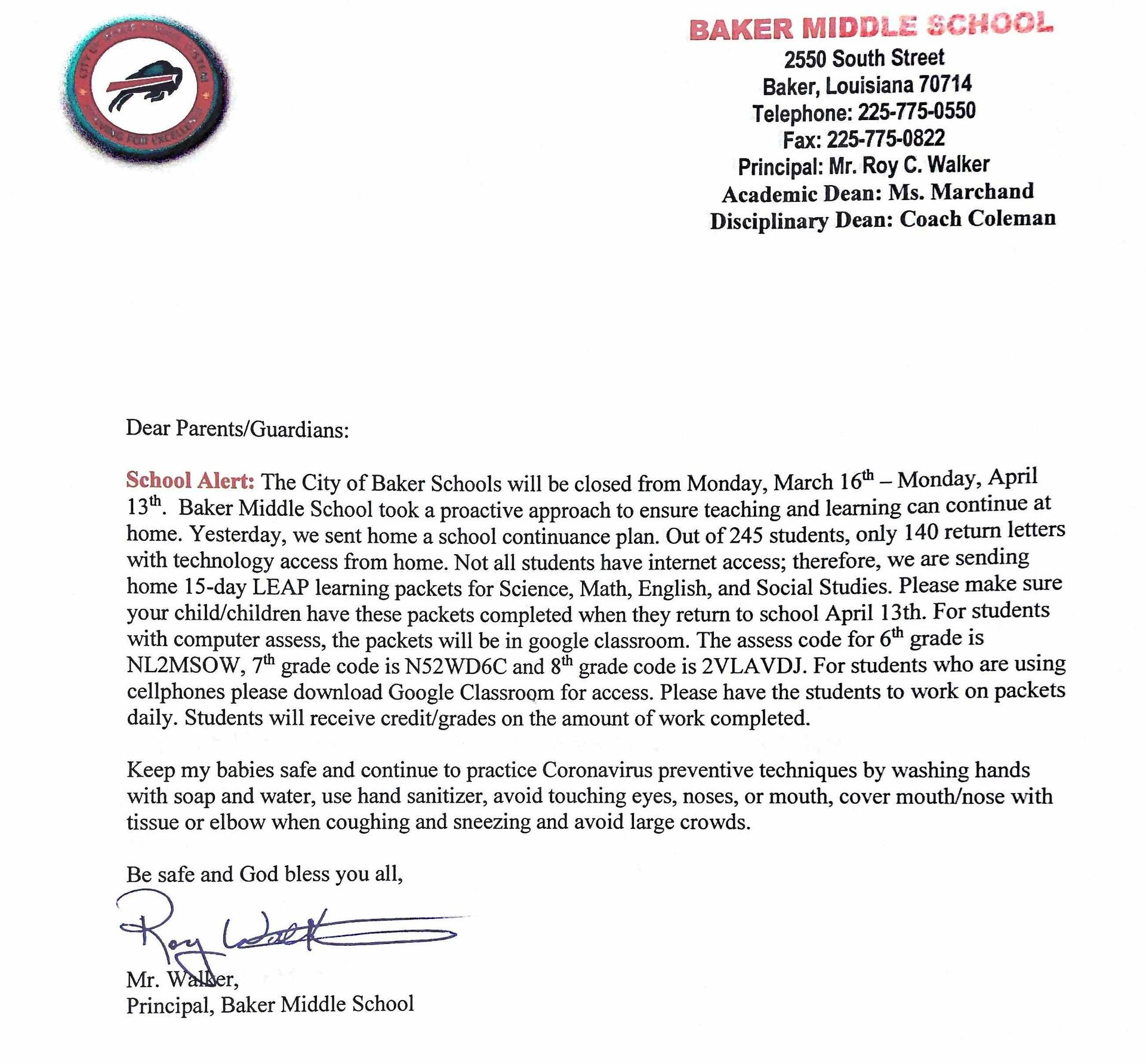 letter from principal about the closing of schools because of the virus