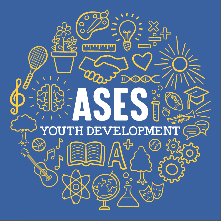 A new image and design for our staff shirts. The images inlcude the text, ASES Youth Development, in addition to icons of arts, sports, science, music, reading, etc.