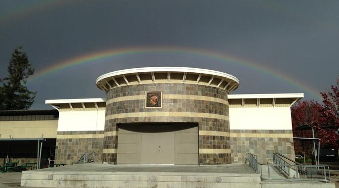 rainbow over quad