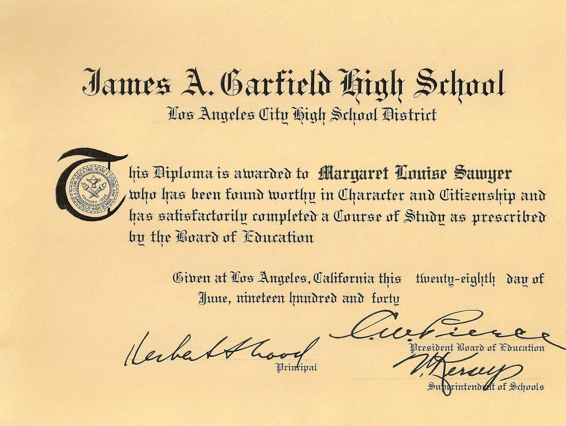 Miss Sawyer's 1940 Diploma