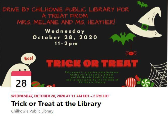 Trick or Treat drive-by flyer, Halloween images and text