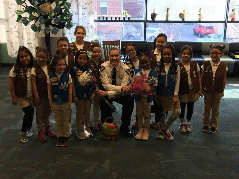 Colin Powell Girl Scouts with UC Chief Luster