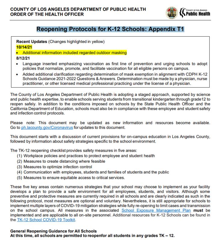 Reopening Protocols for K-12 Schools: Appendix T1