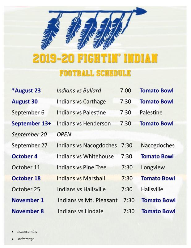 2019 Fightin' Indian Football Schedule