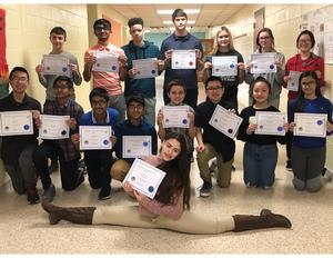 15 Shafer Middle School students posed with their certificates. They were participants in the PJAS Regional Competition.