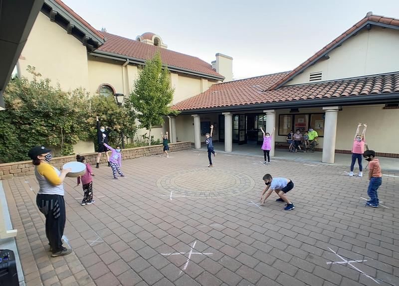 Photo Caption: SPACE's outdoor, socially distanced Street Dance 1 students and instructor Amanda Rosenberg Gutierrez on November 4, 2020