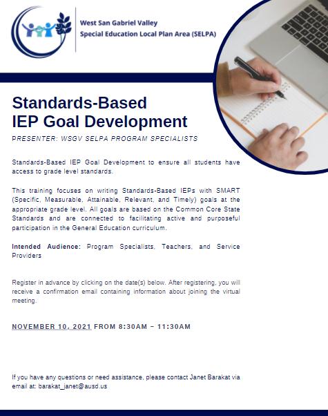 Standards-Based IEP Goal Development