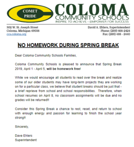 Letter explain no Homework over spring break!