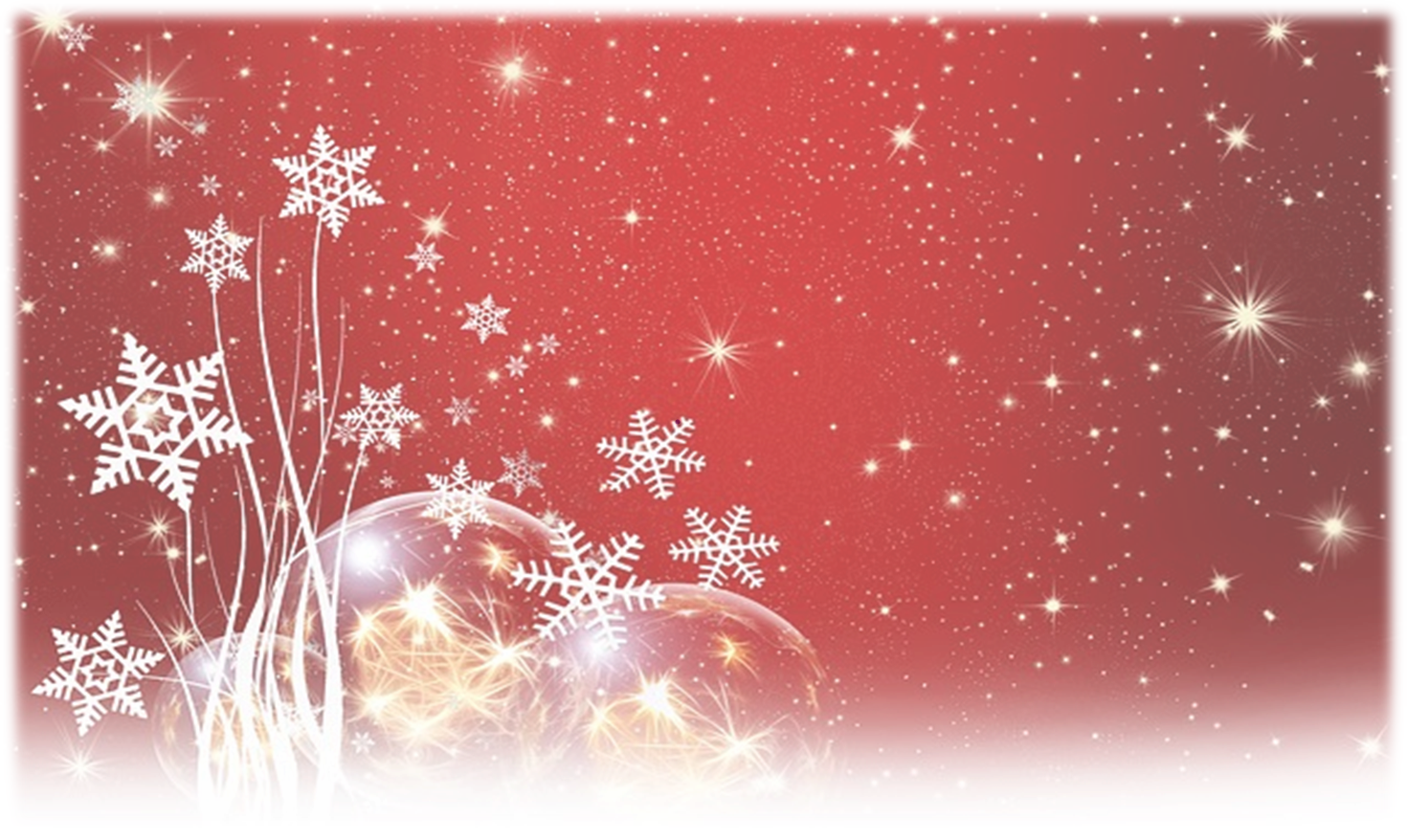 Christmas Bulbs and Snowflakes with red background