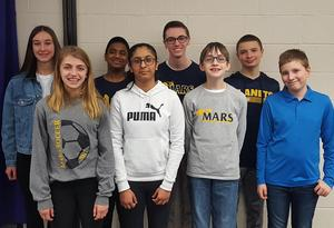 "Mars Area Middle School students (from left) Lucie Morlino, Madeline Wolf, Nameer Dheen, Naiya Patel, Cole Winstead, Mitchell Kulfan, Declan Abbey and Aidan Teboul competed in the 2018-2019 ""You Be the Chemist"" Challenge."