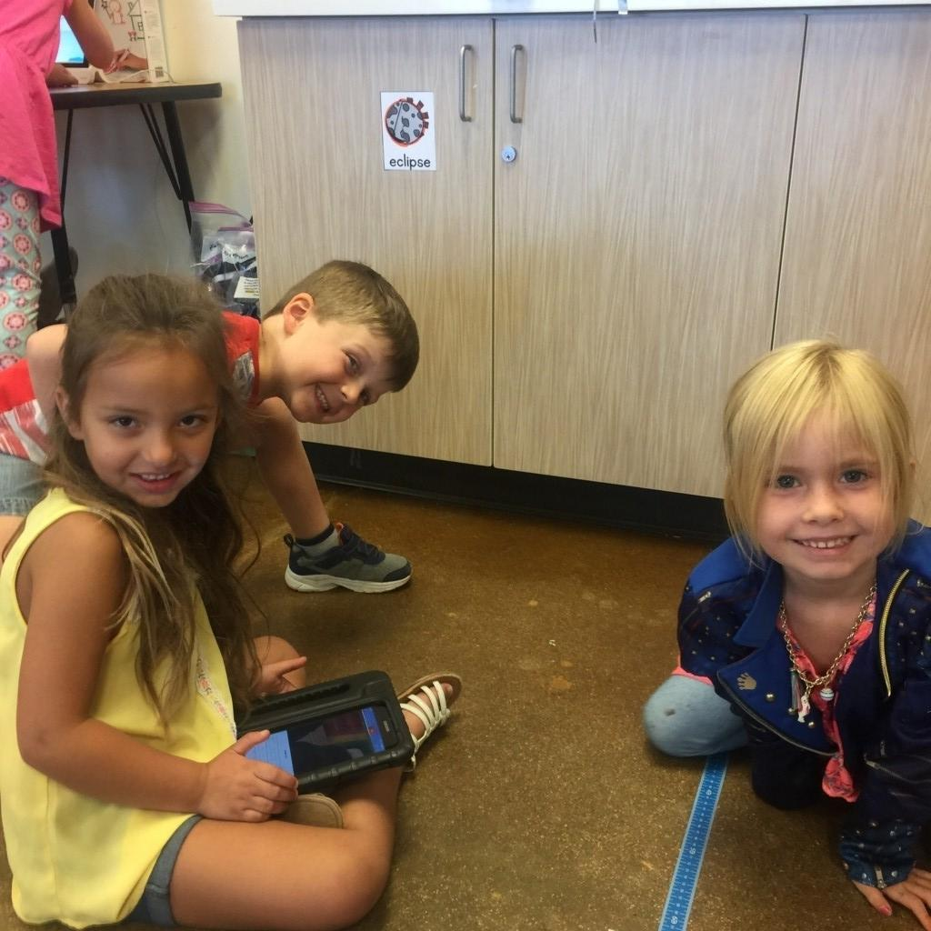 Kinders use a program called Sphero to practice coding.