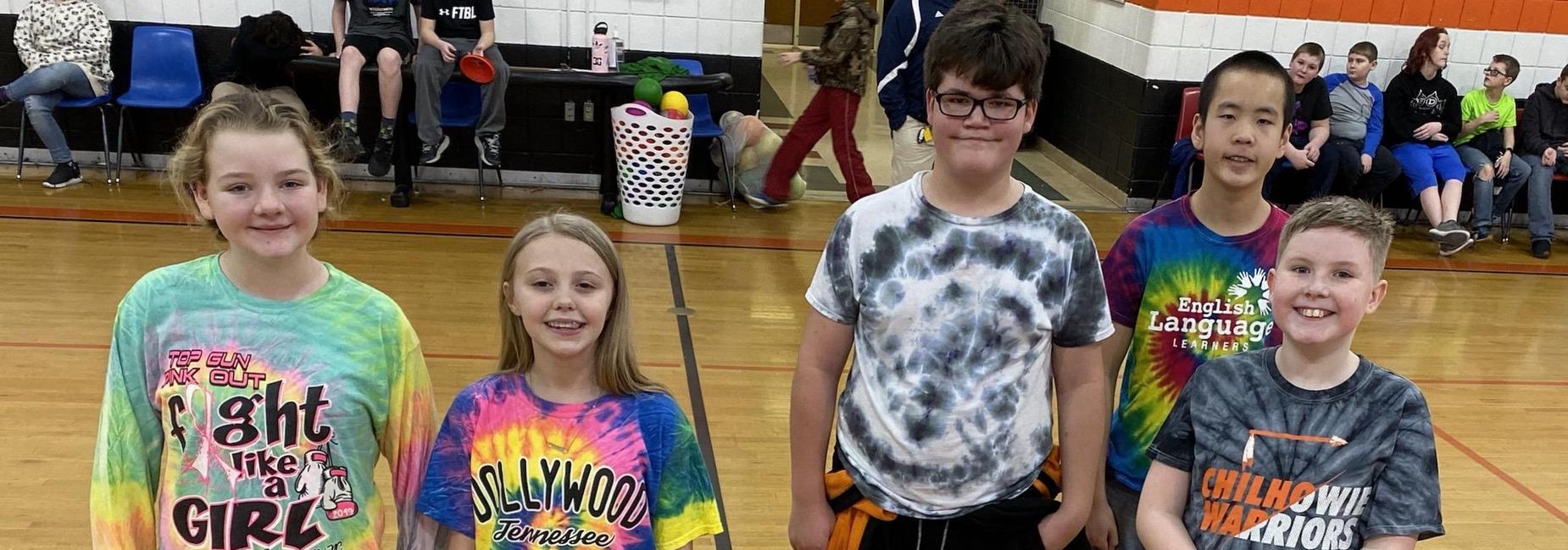 students in tie dye