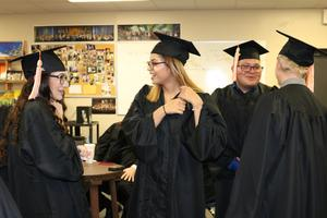 Graduates preparing for ceremony
