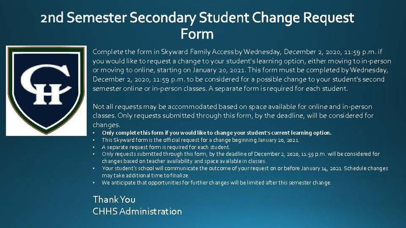 2nd Semester Change request form.