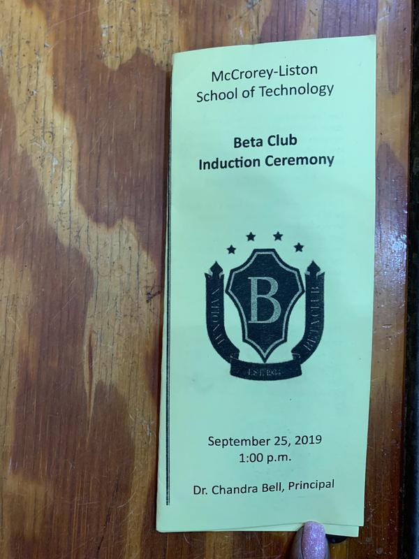 Beta Club Induction Ceremony program cover